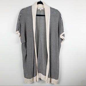Loft Striped Short Sleeve Cardigan Kimono Sz L